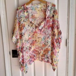 Kensie Pretty Silk Poncho Tie Dye XS